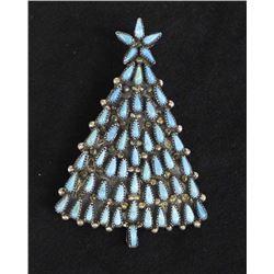 Navajo Silver Turquoise Christmas Tree Pin Pendant