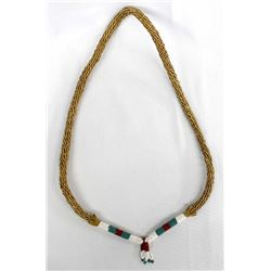 Northern Plains Indian Beaded Sweetgrass Necklace