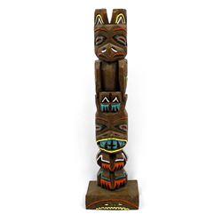 Northwest Coast Carved Wood Souvenir Totem Pole