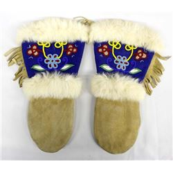 Eastern Woodland Cree Beaded Leather & Fur Gloves