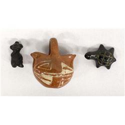 3 Native American Santa Clara Pottery Miniatures
