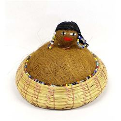 Seminole Pin Cushion Doll on Pine Needle Basket