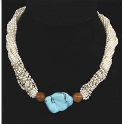 18K Gold, Seed Pearl, & Turquoise Choker