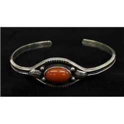 Navajo Sterling Coral Bracelet by Ramona Platero