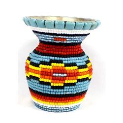 Hand Beaded Pewter Vase by Kathy Kills Thunder