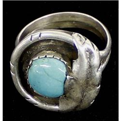 Vintage Navajo Sterling Turquoise Ring, Size 10.75