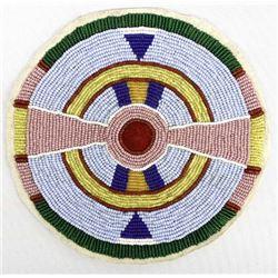 Native American Crow Beaded Rosette Medallion