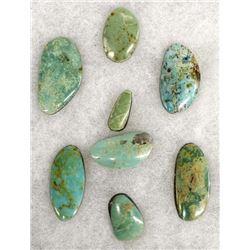 8 Nevada Turquoise Cabochons, 119.4 Carats