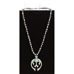 Vintage Navajo Sterling Turquoise Naja Necklace