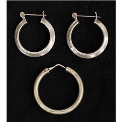 Pair of Sterling Silver Hoop Earrings & 1 Single