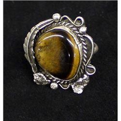 Vintage Navajo Sterling Tiger's Eye Ring, Sz 10.5