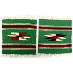 2 Miniature Chimayo Fringed Wool Textiles