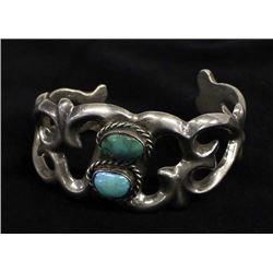 Navajo Silver Sandcast & Turquoise Bracelet