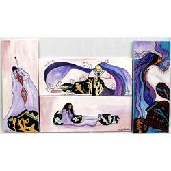 4 Original Acrylic Paintings by Kills Thunder