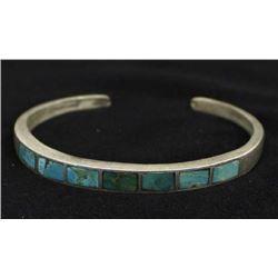 Vintage Navajo Sterling Inlay Turquoise Bracelet