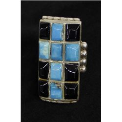 Vintage Navajo Sterling Turquoise & Onyx Ring, 8