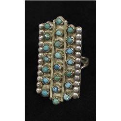 Vintage Native American Navajo Turquoise Ring, 7.5