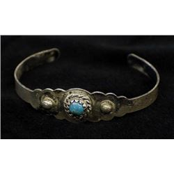 Vintage Navajo Sterling Route 66 Child's Bracelet