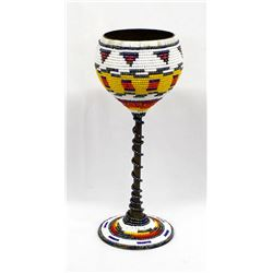 Hand Beaded Brass Chalice by Kathy Kills Thunder