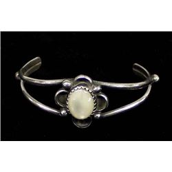 Navajo Sterling & Mother of Pearl Child's Bracelet