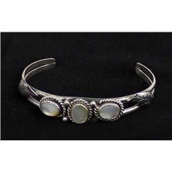 Vintage Navajo Sterling & Mother of Pearl Bracelet
