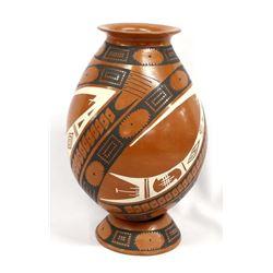 Mata Ortiz Pottery Jar with Matching Pottery Stand