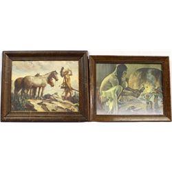 2 Vintage Native American Framed Prints