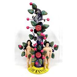 Mexican Folk Art Pottery Adam and Eve Candleholder