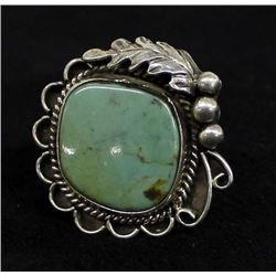 Vintage Navajo Sterling Turquoise Ring, Size 7.5