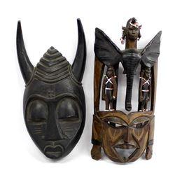 2 Vintage Carved Wood Masks