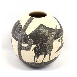 Mata Ortiz Carved Javelina Pottery Jar, Rodriguez
