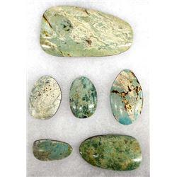 6 Nevada Turquoise Cabochons, 172.55 Carats
