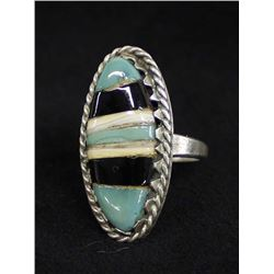 Vintage Navajo Sterling Inlay Ring, Size 7.5
