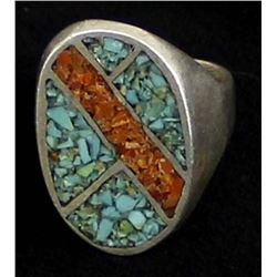 Vintage Navajo Sterling Chip Inlay Ring, Size 10