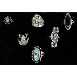 5 Silver Turquoise Rings, Mostly Native American