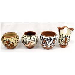 4 Pieces of Native American Jemez Pottery