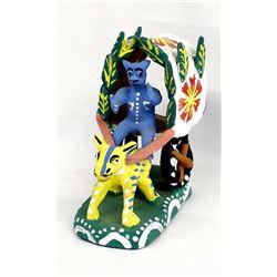 Mexican Folk Art Pottery Diablito in Cart
