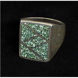 Vintage Navajo Sterling & Chip Inlay Ring, Sz 9.5
