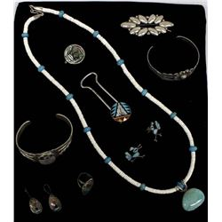 Collection of Silver Jewelry, Some Native American
