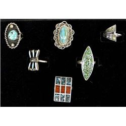 5 Native American Rings and 1 Mexican Silver Ring