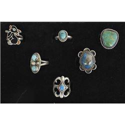 5 Vintage Navajo Sterling Silver Turquoise Rings