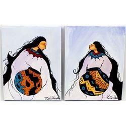 2 Original Acrylic Paintings by Kills Thunder