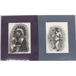 2 Hand Signed Navajo-Hopi Prints by M. Burnham