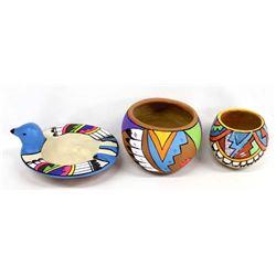3 Pieces of Jemez Pueblo Poster Paint Pottery