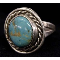 Vintage Navajo Sterling Turquoise Ring, Size 9.5