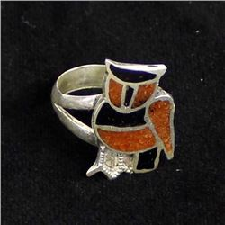 Vintage Navajo Sterling Inlay Owl Ring, Size 7