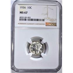 1936 MERCURY DIME NGC MS67