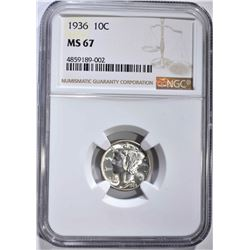 1936 MERCURY DIME NGC MS67