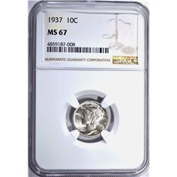 1937 MERCURY DIME NGC MS67