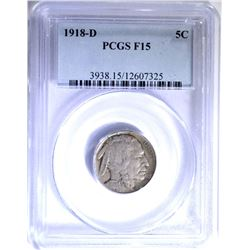 1918-D BUFFALO NICKEL, PCGS F-15